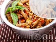 Пълнозърнеста паста (макарони) със зеленчуци